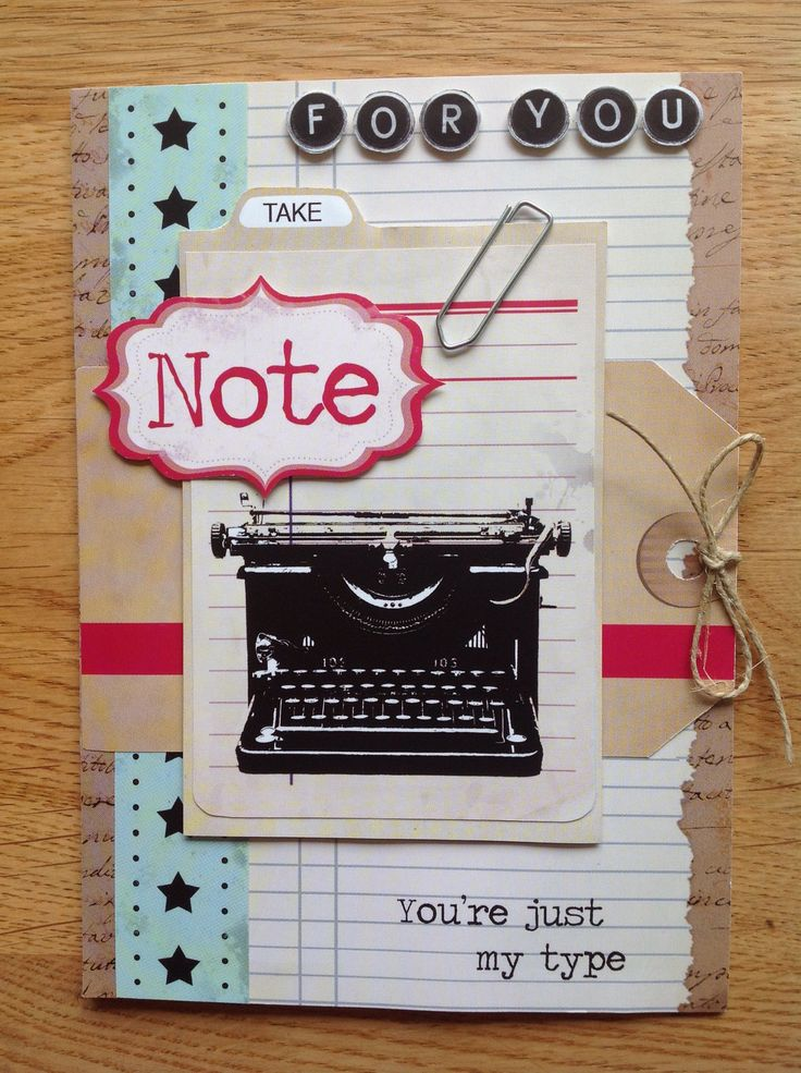 Card with typewriter - Kaart met typemachine