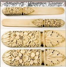 Antique French hand carved ivory page turners