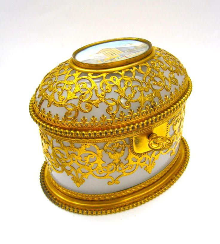 Rare Antique Palais Royal Opaline Casket in French & Bohemian Caskets