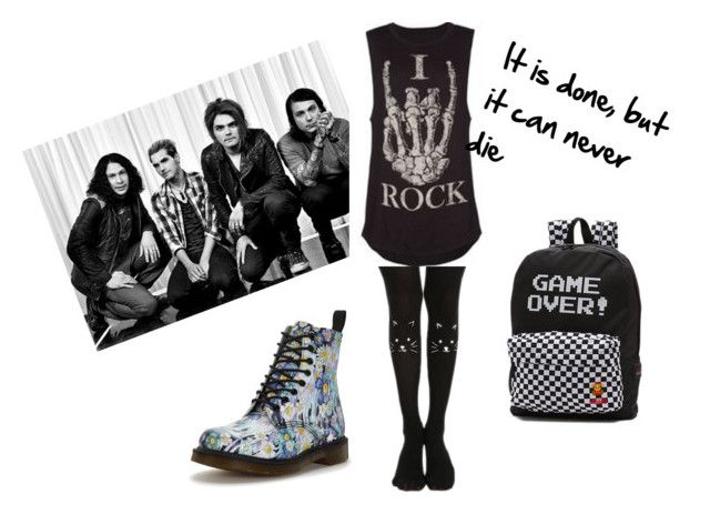 """""""My chemical romance outfit"""" by betty-anne-brassil on Polyvore featuring Dr. Martens, Vans, emo, scene, Punk, alternative and mychemicalromance"""