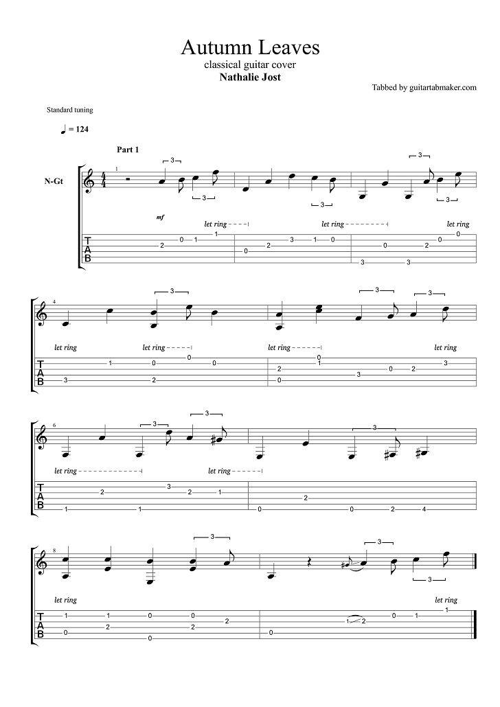 Autumn Leaves fingerstyle guitar tab - pdf guitar sheet music - guitar pro tab download