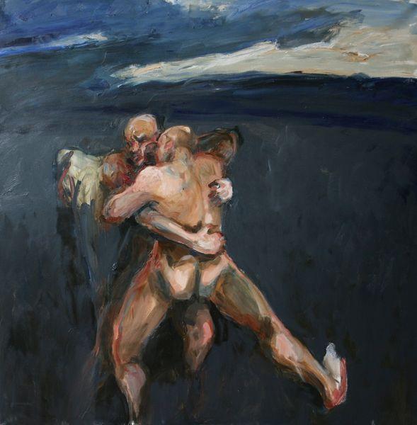 Michał Zaborowski, Jacob wrestling with the angel, 140x150cm, oil on canvas.