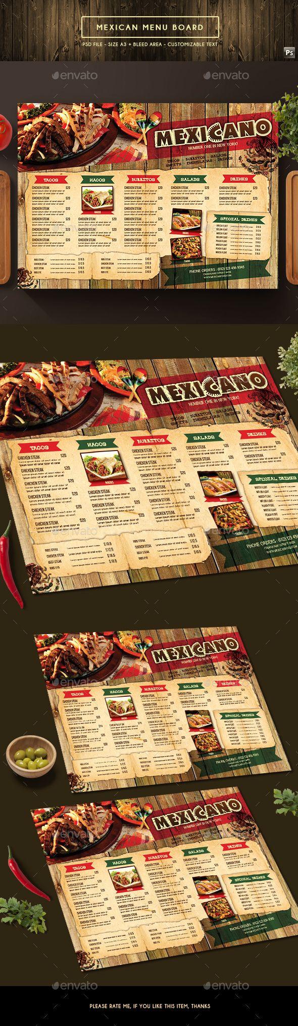 Mexican Menu Board - Food Menus Print Templates Download here : https://graphicriver.net/item/mexican-menu-board/19538493?s_rank=64&ref=Al-fatih