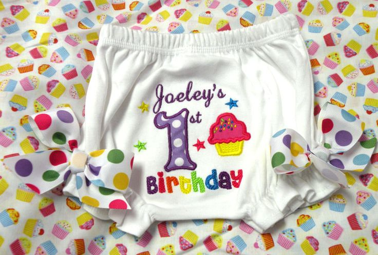 This pretty personalized birthday diaper cover was made to match our Fuchsia Rainbow Cupcake Dots  Tutu Outfit. #personalized #handmade #babyclothes #diapercover #toocute