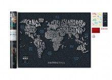 Świat mapa zdrapka - letters, mapa zdrapka, 1DEA.me