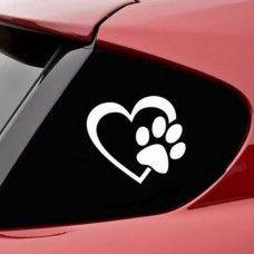 Szív, kutya lábnyom autómatrica