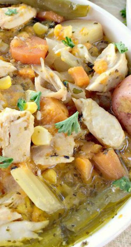 Herb-Roasted Chicken and Vegetable Soup ~ This delicious soup is chocked full of chicken and veggies in a wonderful parsley-garlic-rosemary broth... It's healthy, low calorie and gluten free.
