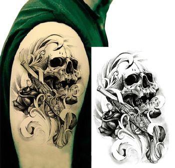 tätowierung einzigen waffe schädel tattoo aufkleber 3d blume schädel arm tattoo-kunst für körper versandkostenfrei