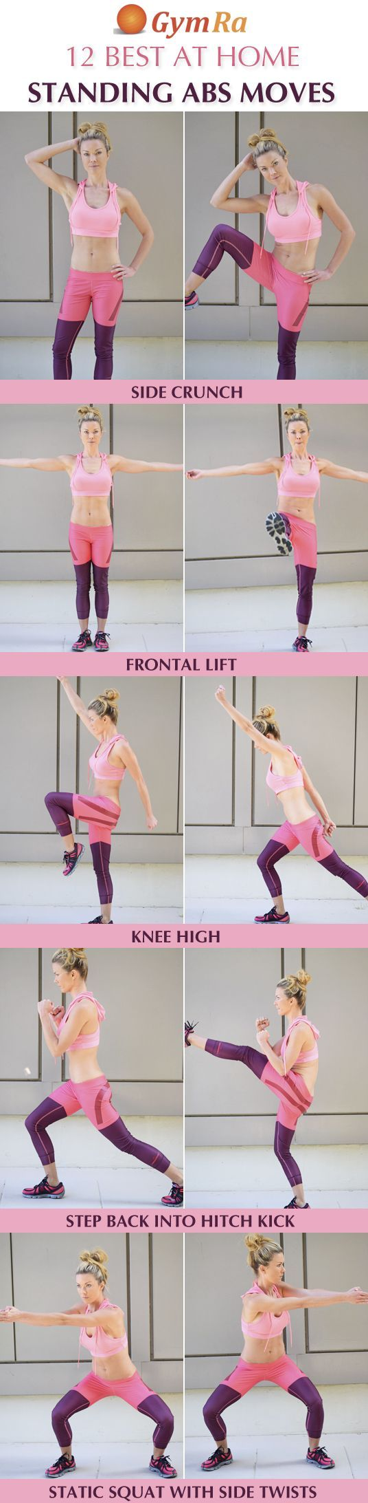 12 Best At Home Standing Abs Exercises. Click the above image to see all the moves demonstrated in video and/or GIF format. Try GymRa free for a month. NO CREDIT CARD REQUIRED!