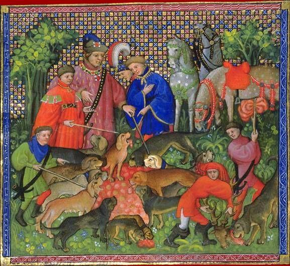 """Gaston Phébus, Livre de chasse : """"Ci devise comment on doit faire le droit au limier et la curée au chien."""", vers 1387-1389. Paris, BnF, Département des manuscrits, Français 616 folio 72."""