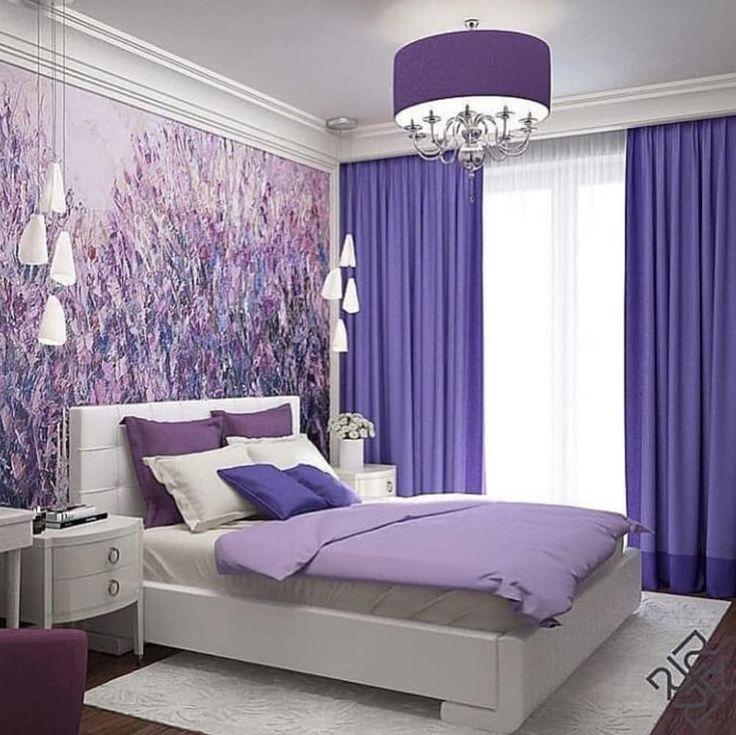 смотреть фото фиолетовой спальни в квартире предлагает
