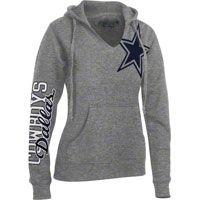 Dallas Cowboys Women's Grey Jersey Notch Halle Hooded Sweatshirt I need this.