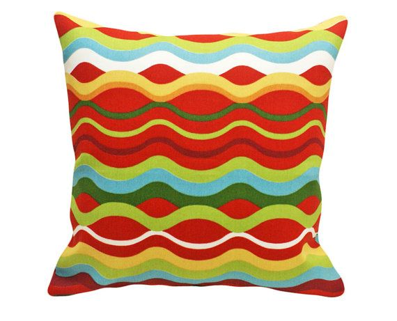 Fun Colorful Patio Pillows for Outdoor Living, Vivid Red Green Blue Yellow Stripes, Pool, Boat or Beach House Decor 18x18
