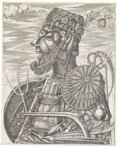 Giuseppe Arcimboldo (1530-93) - A male bust composed of agricultural implements and plants (The Farmer)