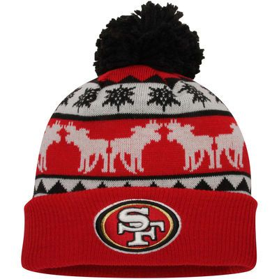 New Era San Francisco 49ers Red/Gold Mooser Cuffed Knit Beanie w/Pom