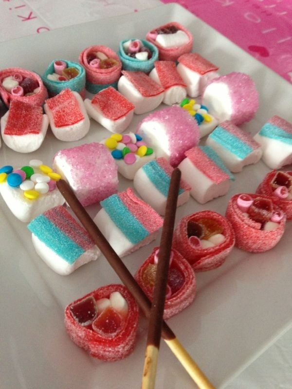 Homemade candy sushi