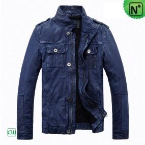 Mens Blue Leather Jackets CW813087 - m.cwmalls.com