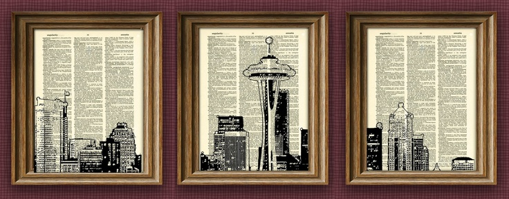 Seattle Skyline 3 pack dictionary prints awesome upcycled vintage dictionary page book art print. $21.99, via Etsy.