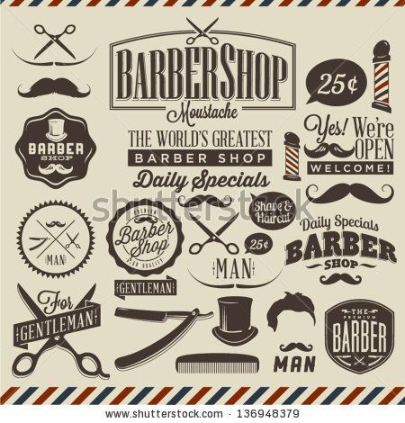 Collection of vintage retro grunge barber shop labels by Noka Studio, via ShutterStock