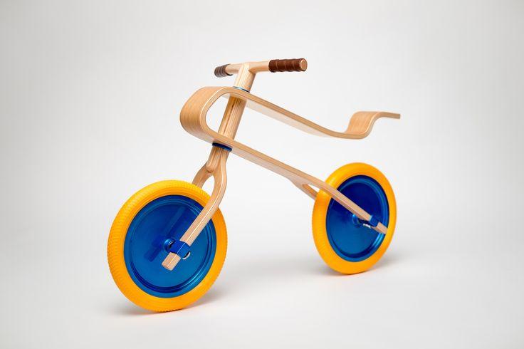 Brum Brum balance bike - oak finish, candy blue discs and melone yellow tires