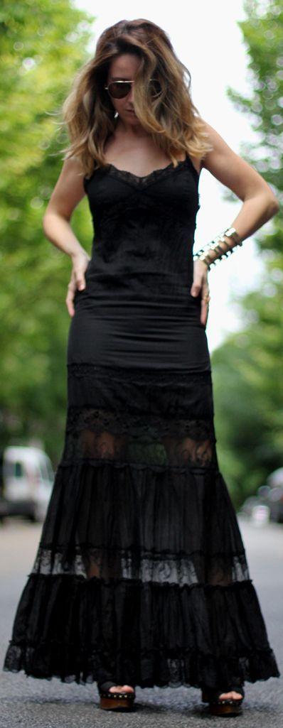 Charo Ruiz Black Flare Bottom Lace Trim Tank Maxi Dress by Mes Voyages à Paris