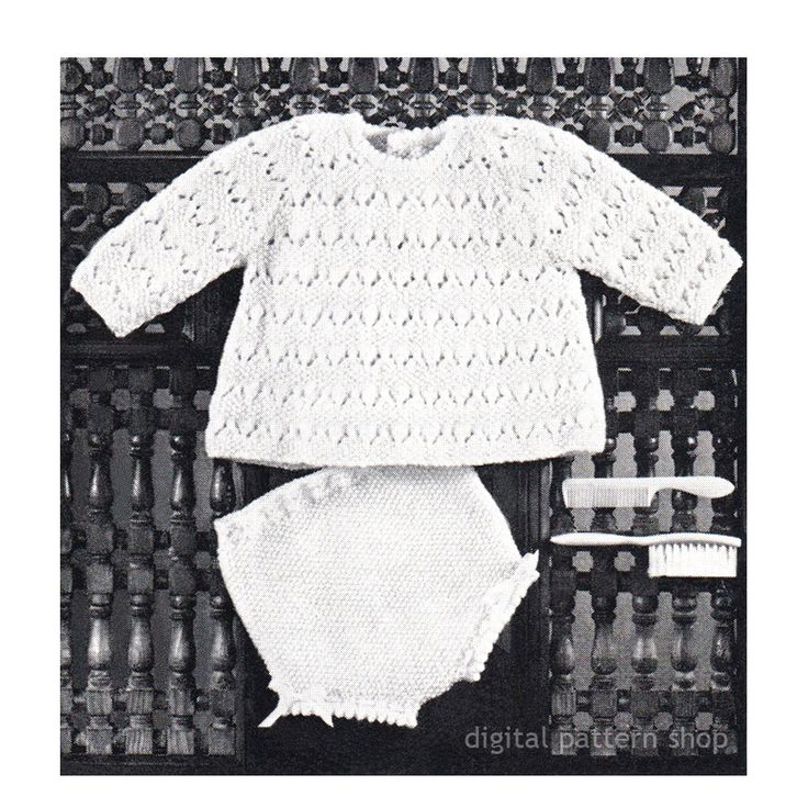 Baby Girls Knitting Pattern Top and Knickers Infant Raglan Sweater & Panties Knitting Pattern Diaper Cover PDF Instant Download K99 by DigitalPatternShop on Etsy
