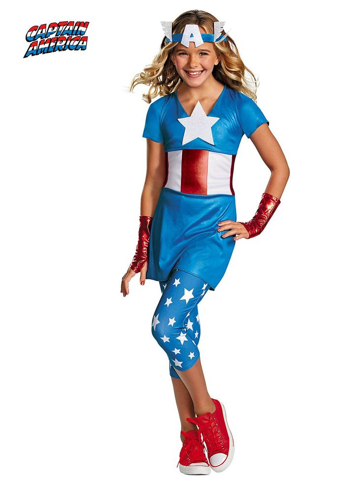 Girl's American Dream Captain America Tween Costume! See more #costume ideas for Halloween and more at CostumeSuperCenter.com