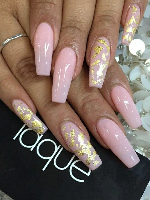 Tapered Square Nails. Long Acrylic Nails. Pink Nails. Pink With Gold ...