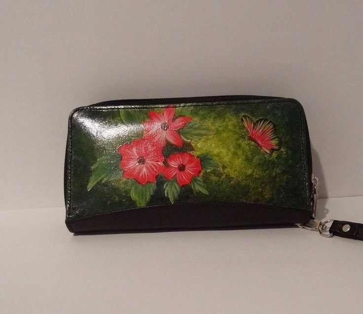 Hand Painted 100% Genuine Leather Double Zip-around Wallet Purse - Handmade #Unbranded #DoubleZipAround