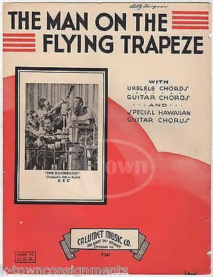MAN ON THE FLYING TRAPEZE THE KIDOODLERS UKULELE & GUITAR ANTIQUE SHEET MUSIC