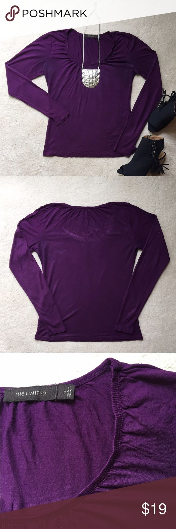 The Limited Purple Long Sleeve Top Spice up your basics! This long sleeve top by The Limited has a decorative elastic neckline. It is made of 100% modal. Bundle and save 30%! The Limited Tops