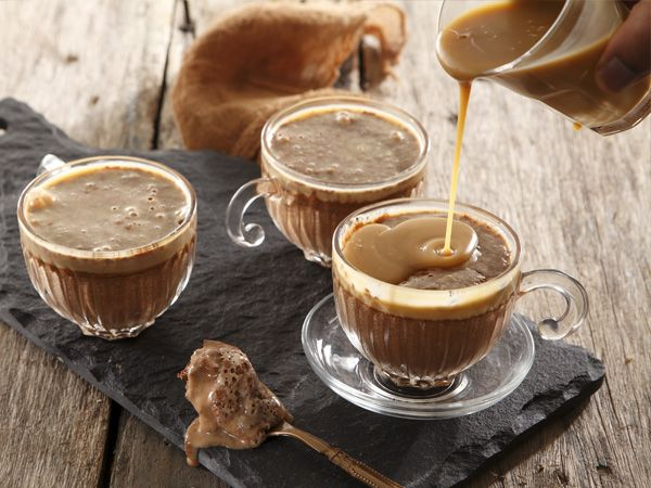 Chocolate mousse with butter caramel