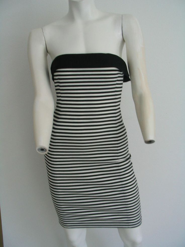 Zara Basic Strapless Dress Tube Bodycon Black White ...