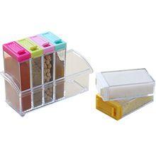 Colorido Simple Tapa Transparente Tarro de la Especia/Caja Condimento Vinagrera Cocina Caja de Almacenamiento de Herramientas(China (Mainland))