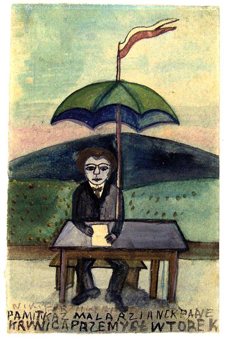 "Nikifor Krynicki ""Autoportret pod parasolem"""
