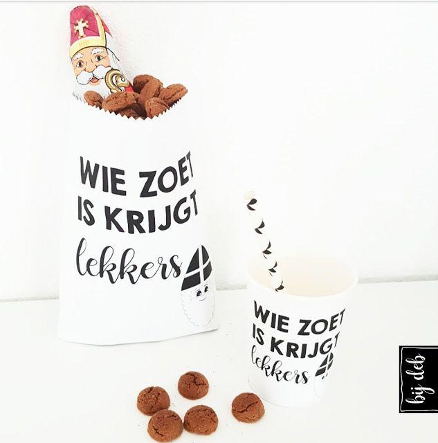 Free printable Sint en Piet paper bag en papieren beker labels...