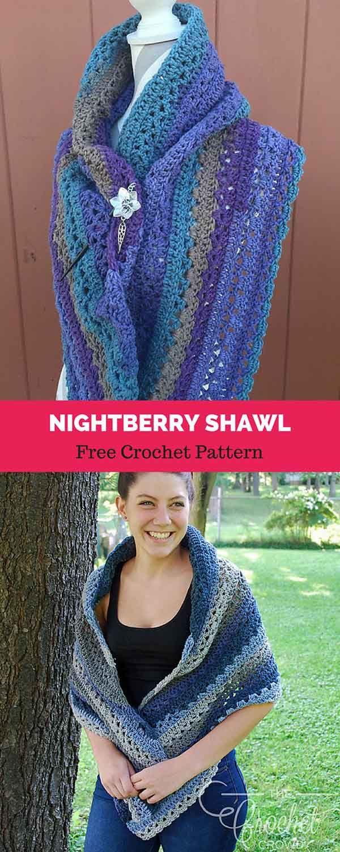 Nightberry Shawl [ FREE CROCHET PATTERN | Pinterest