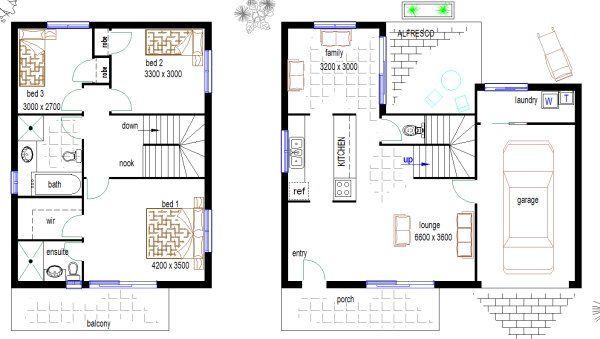 186 best floor plans duplex images on pinterest floor for Townhouse plans for small blocks