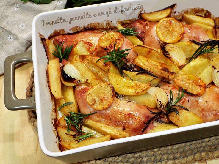 Cosce di pollo al forno con limone, cipolla e salsa bbq