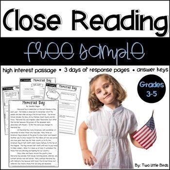 This Memorial Day close reading passage includes three days of response pages with answer sheets; day 1 focuses on main idea and details, day 2 focuses on vocabulary and text structure, and day 3 focuses on theme, author craft and inferencing.   There are bonus pages included: a Memorial Day word search and two coloring pages.These no prep materials make it easy to implement close reading in your upper elementary classroom.If you like this resource, you can check out passages for the whole…