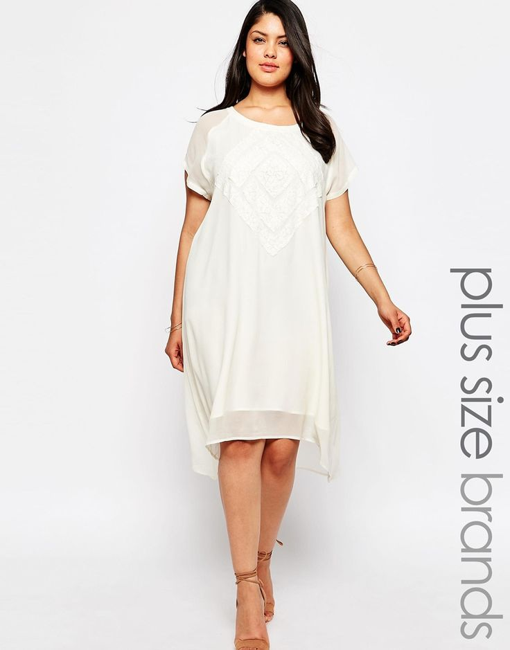 Carmakoma+Embroidered+Overlay+Dip+Hem+Dress