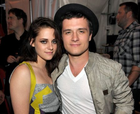 Kristen Stewart and Josh Hutcherson photographed backstage at the 2012 MTV Movie Awards in Los Angeles.