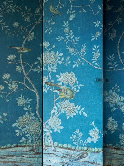 Peacock blue with birds and flowers = Chinese brilliance!: Closet Doors, Hidden Doors, Tiffany Blue, Dream House, Interiors Design, Screens, Rooms Dividers, Secret Doors, Chinoiserie Wallpapers