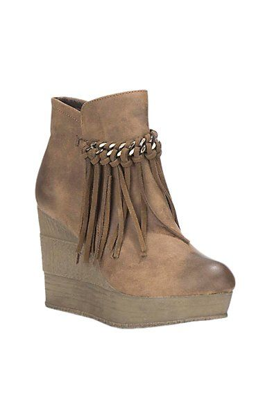Sbicca Women's Tan with Fringe Detail Wedge Booties | Cavender's