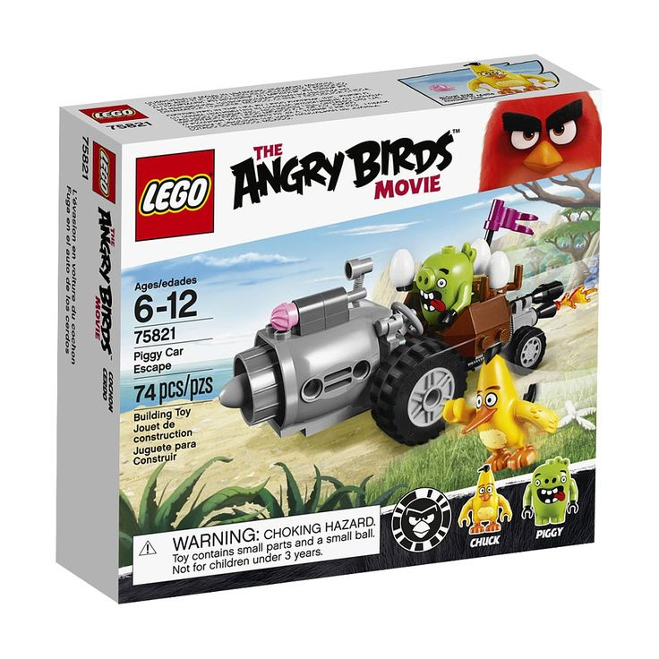 Pitch speedy bird Chuck against the Piggy Car. Chase the car to try and take back the eggs, but watch out for its ice cream shooter in this fun set, based on The Angry BirdsTM Movie. Includes 2 figures.<ul>LEGO Angry Birds Piggy Car Escape 75821 features:<li>Includes 2 figures: Chuck the Angry Bird and a piggy.</li><li>Piggy Car features 2 exhaust pipes (one with a flame), a nest, 2 eggs, flag and an ice cream shooter.</li><li>Send speedy Chuck r...