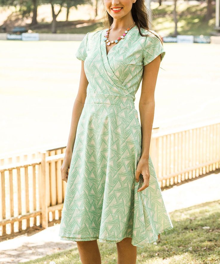 Another great find on #zulily! Green Geo Wrap-Bodice Midi Dress - Plus Too by Shabby Apple #zulilyfinds