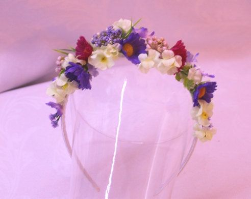 Summer meadow Floral headband flowergirl accessory Bridal wedding faerie costume fairy hair flowers on etsy 18eur