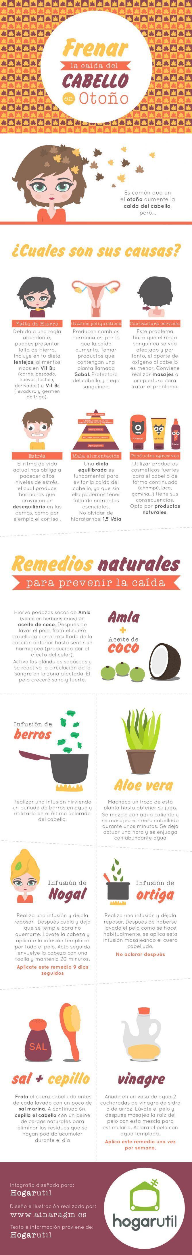 Remedios para frenar la perdida de cabello en otoño. #remedios #infografia #infographic