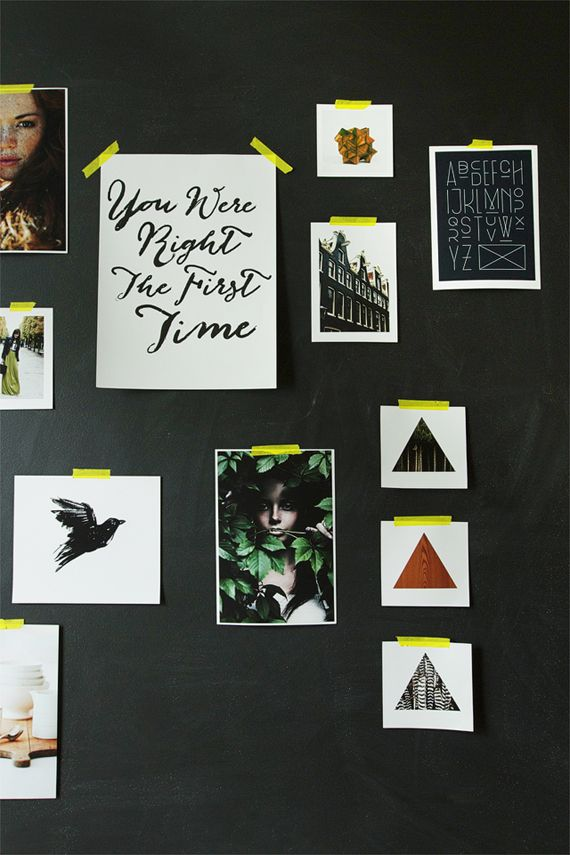 Black Wall + Art hung with Yellow Tape | Sarah Sherman Samuel of Smitten Studio