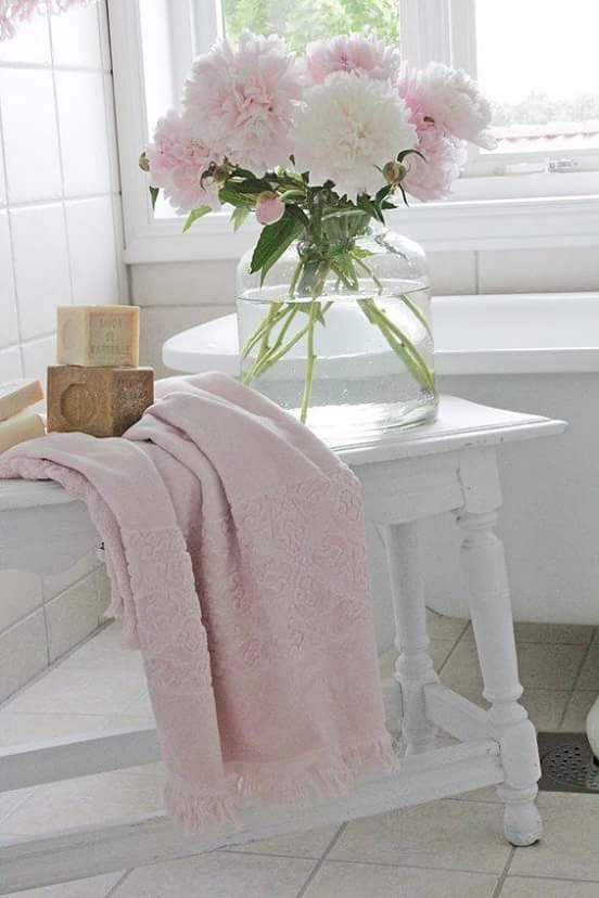 Peonies in white cottage bathroom. I love the simplicity and girlines of this flower arrangement and the fact that a vase is so simple like a jar. I'm going to do sth like that for my white bathroom. Fake peonies here: http://s.click.aliexpress.com/e/m6I6QFi and pretty light pink towel with tassels here: http://s.click.aliexpress.com/e/ujYNFQN